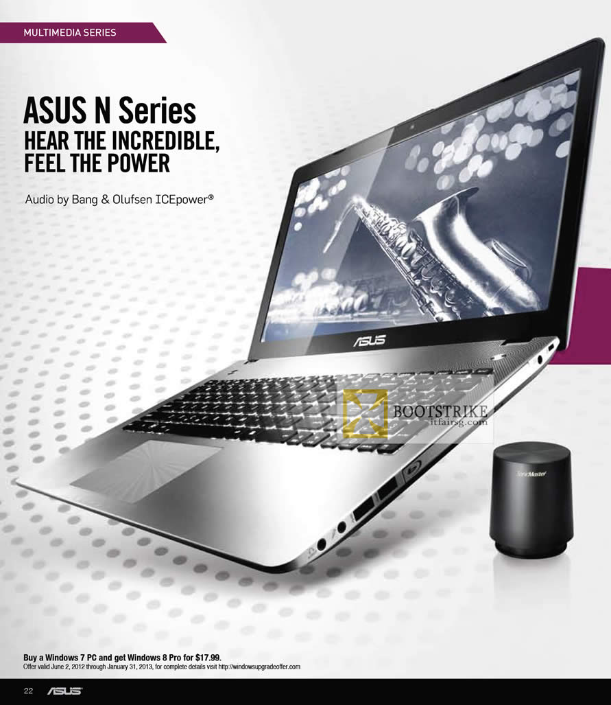 COMEX 2012 price list image brochure of ASUS Notebooks N Series, Bang Olufsen ICEpower Audio