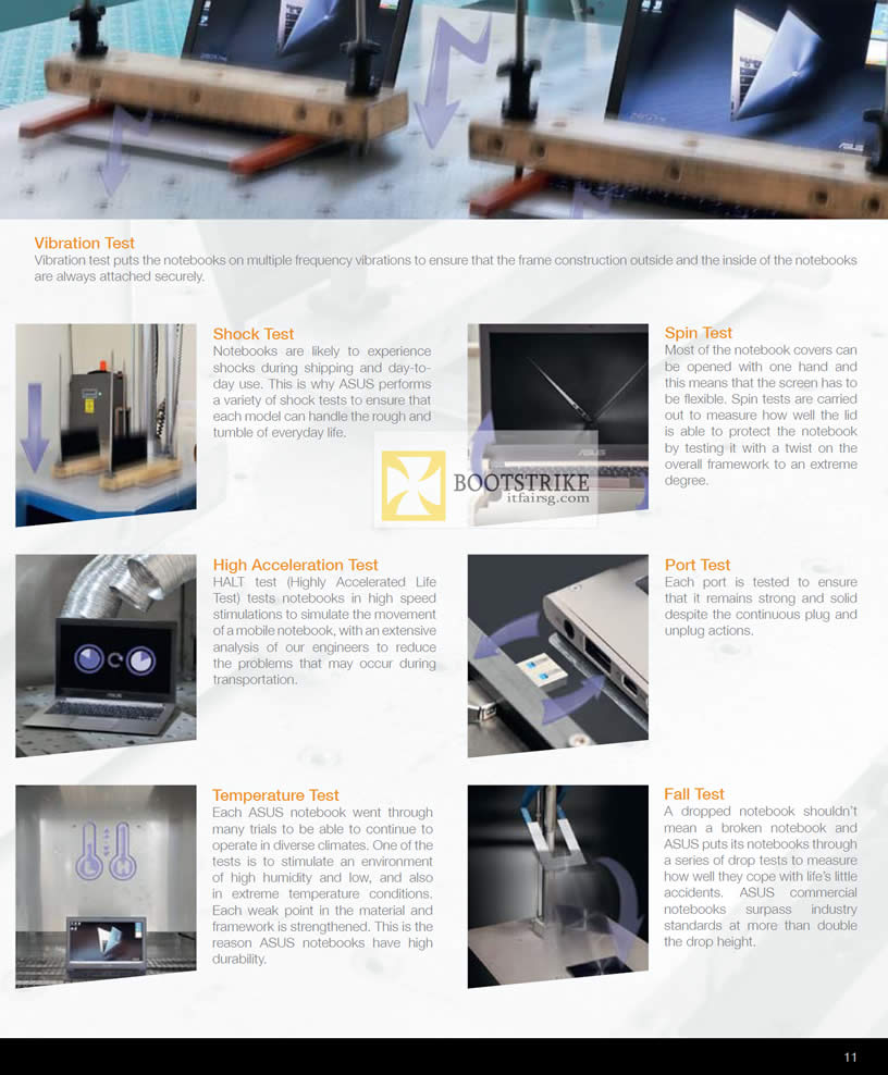 COMEX 2012 price list image brochure of ASUS Notebooks Quality Tests Vibration, Shock, Spin, High Acceleration, Port, Termperature, Fall