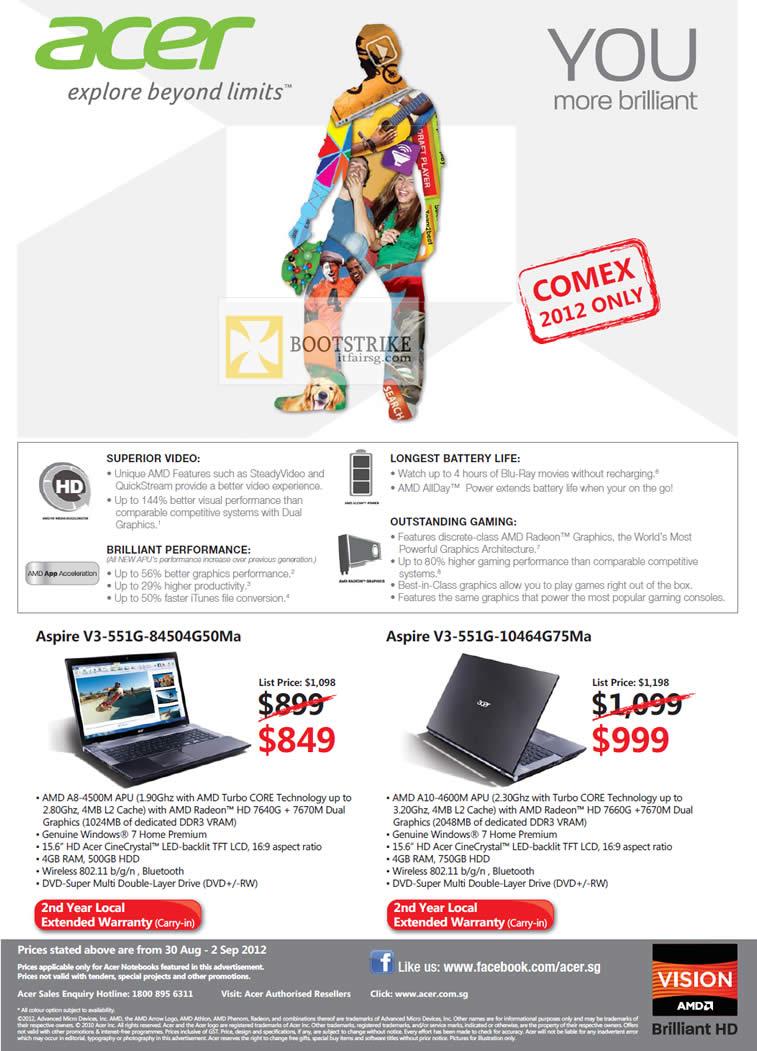 COMEX 2012 price list image brochure of Acer Notebooks Aspire V3-551G-84504G50Ma, Aspire V3-551G-10464G75Ma