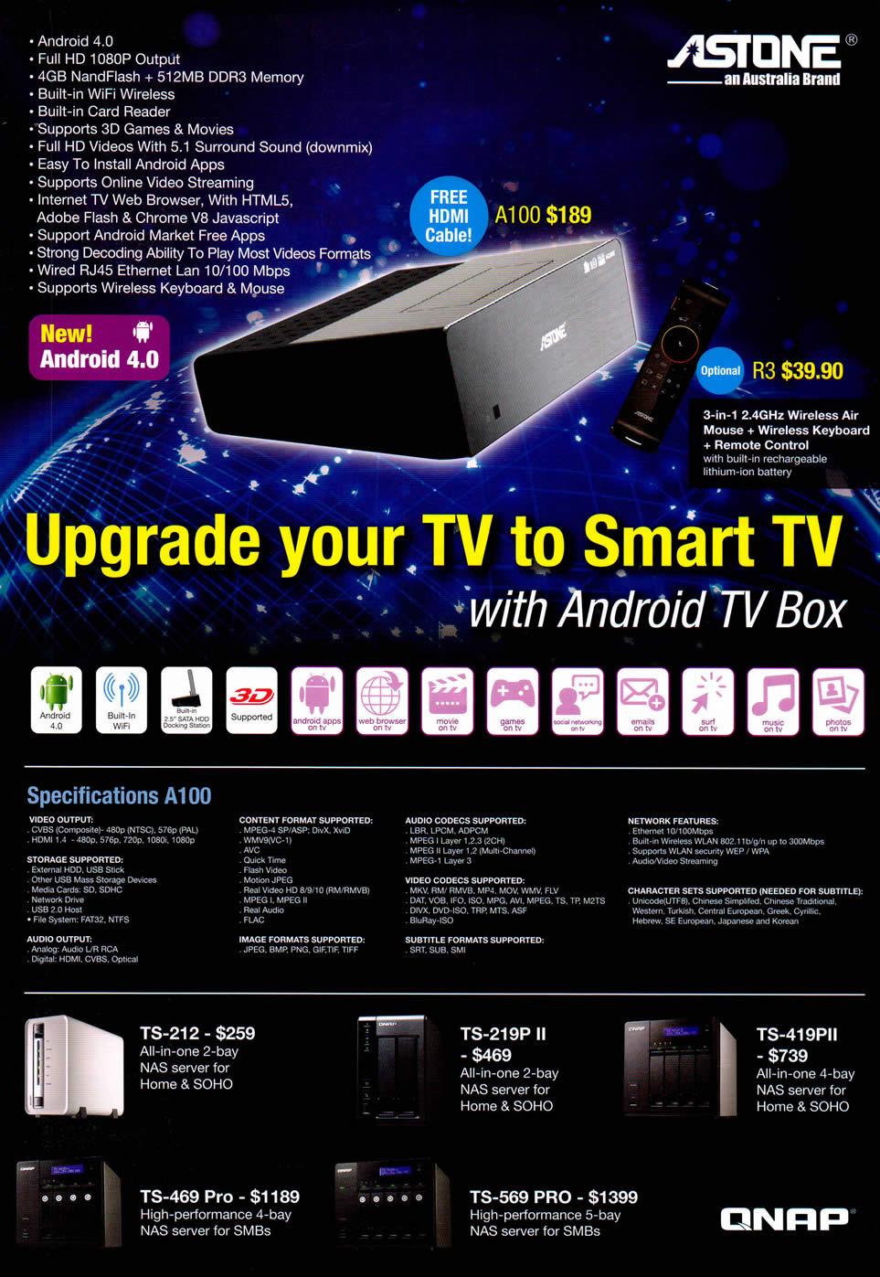 COMEX 2012 price list image brochure of Achieva Astone Media Player A100, R3 Android Qnap NAS TS-212, TS-219P, TS-419PII, TS-469 Pro, TS-569 Pro