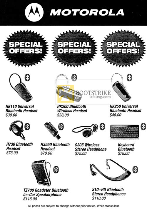COMEX 2012 price list image brochure of Alcom Motorola Bluetooth Headset HK110, HK200, HK250, H730, HX550, S305, TZ700, S10-HD