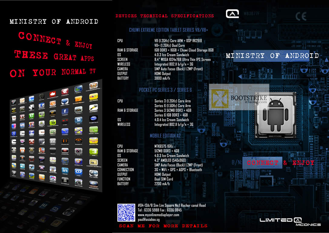 COMEX 2012 price list image brochure of Amconics Chuwi Extreme Edition V8 Plus Tablets, Pocket PC Media Player, A2 Smartphone Specifications