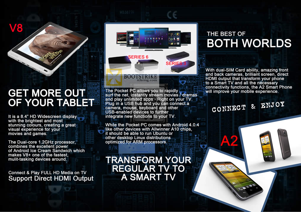 COMEX 2012 price list image brochure of Amconics Chuwi Extreme Edition V8 Tablet, Pocket PC Media Player, A2 Smartphone Features