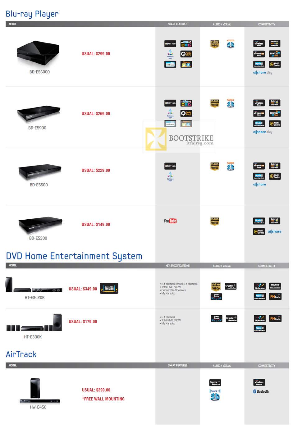 COMEX 2012 price list image brochure of Audio House Samsung Blu-Ray Player BD-ES6000, Bd-ES900, Bd-ES500, BD-ES300, Home Entertainment System, HT-ES420K, HT-E3330K, AirTrack HW-E450
