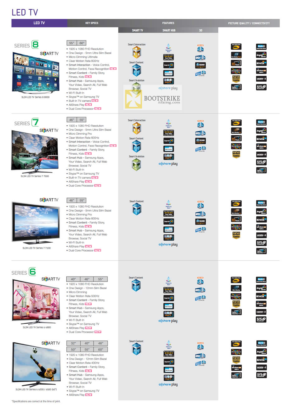 COMEX 2012 price list image brochure of Audio House Samsung LED TV Series 8, 7, 6