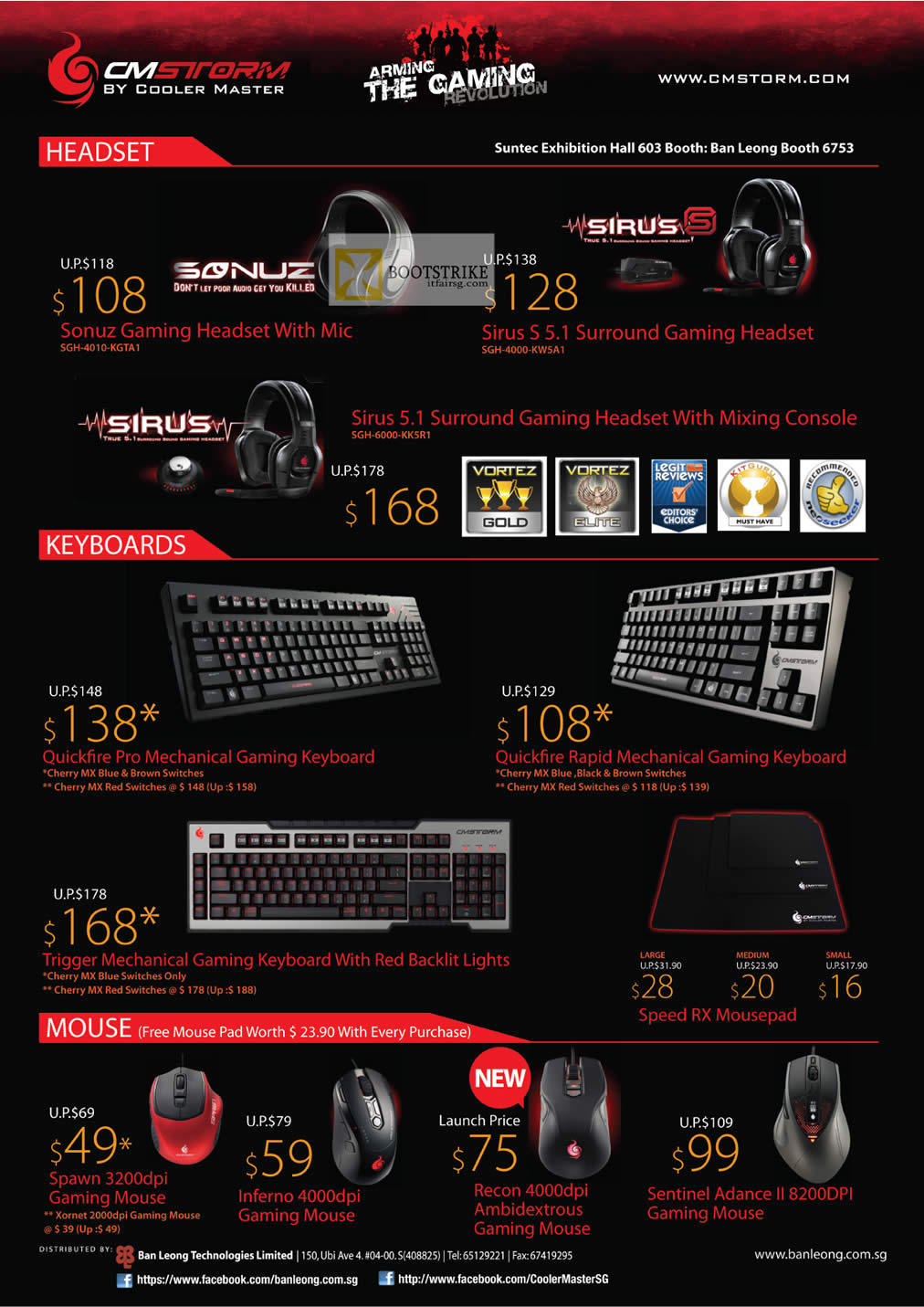 COMEX 2012 price list image brochure of Ban Leong CMStorm Cooler Master Headset Sonuz, Sirus S 5.1, Keyboard Quickfire Pro, Rapid, Trigger Mechanical, Mouse Spawn, Inferno, Recon Ambidextrous, Sentinel Advance II