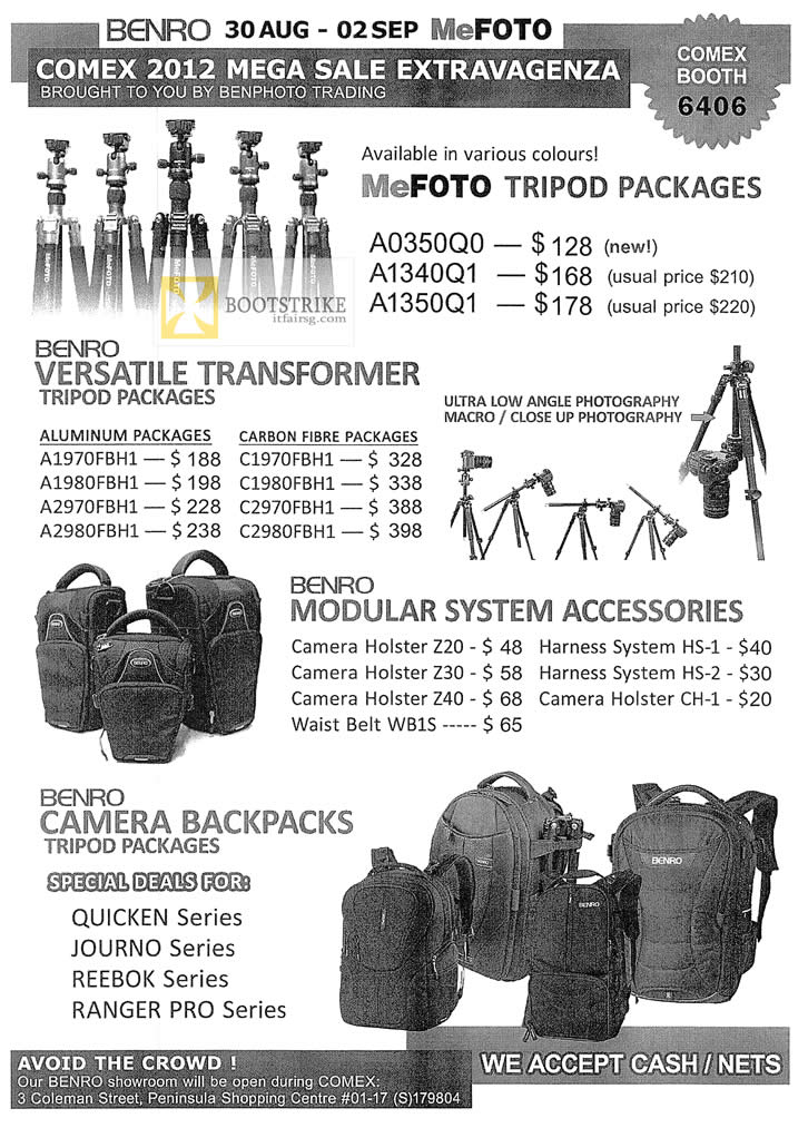 COMEX 2012 price list image brochure of Ben Photo MeFoto Tripod Packages, Versatile Transformer, Modular System Accessories, Camera Backpacks