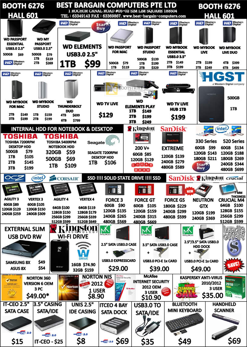 COMEX 2012 price list image brochure of Best Bargain External Storage WD Passport, Essential, Elements, Mac, Mybook, TV Live, Internal Hard Disk, Flash Memory, SSD, Norton, Case, Keyboard