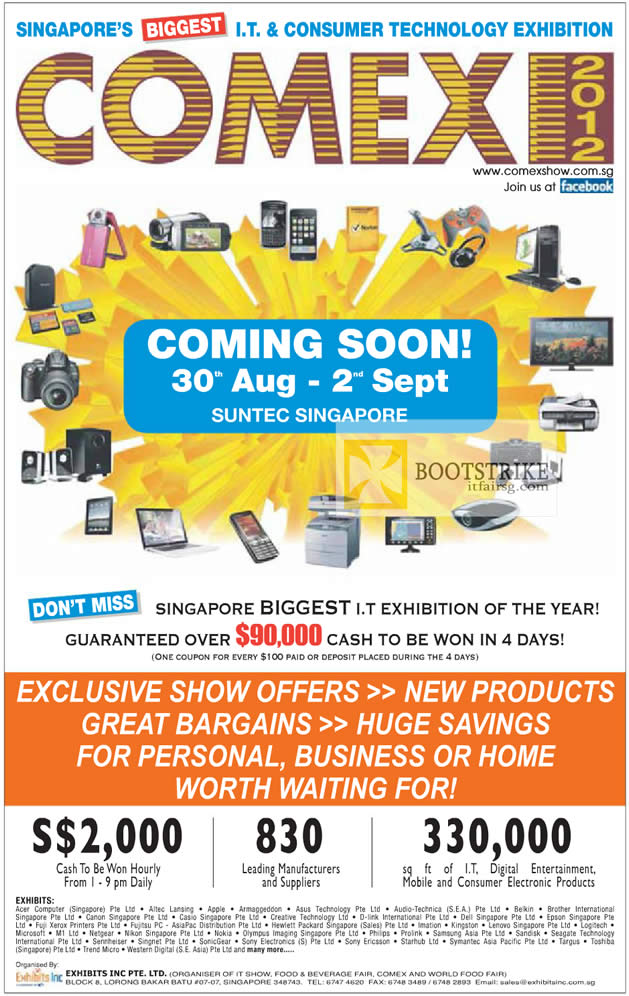 COMEX 2012 price list image brochure of COMEX 2012 Date, Time, Venue, Lucky Draw, Exhibitors