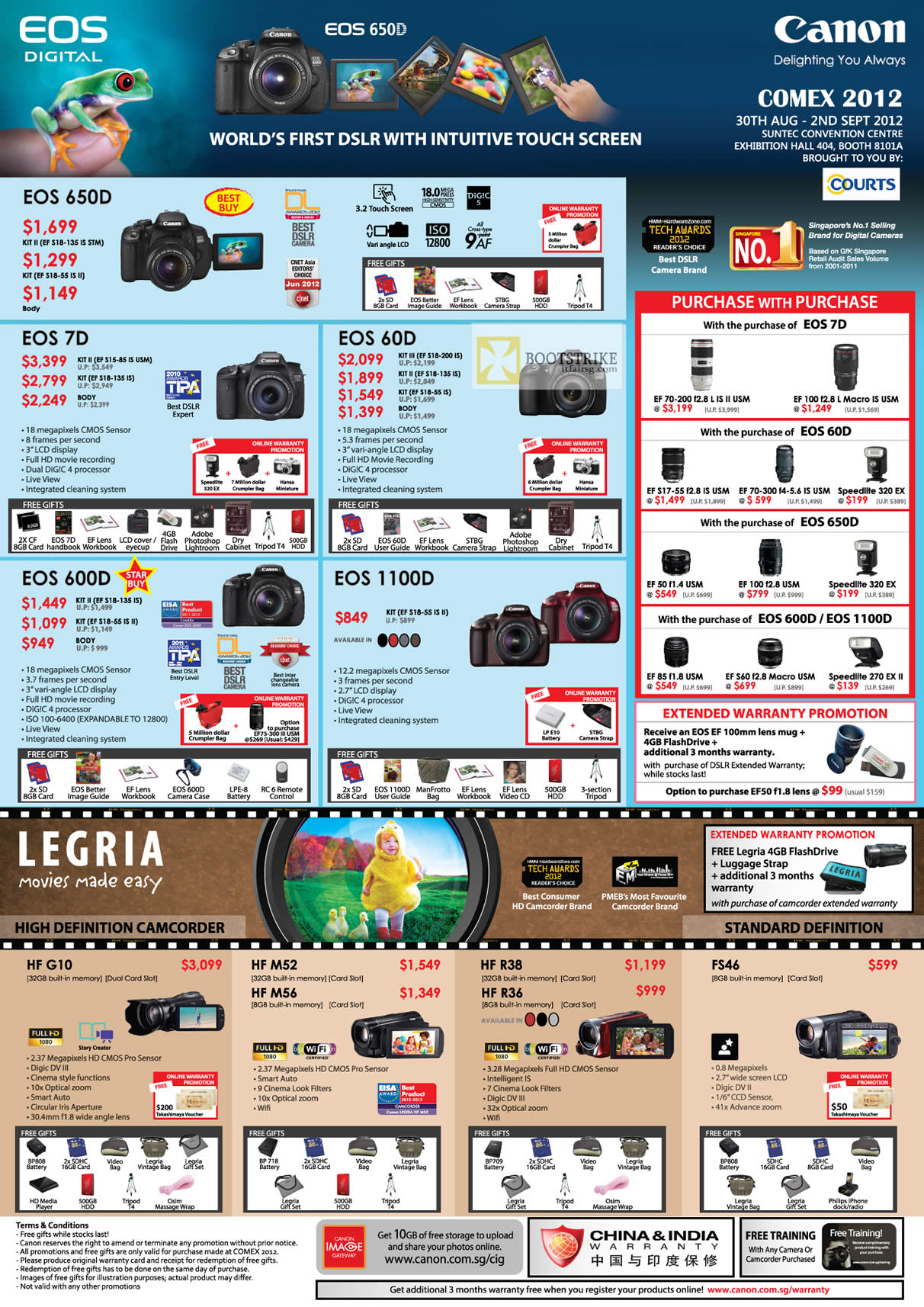 COMEX 2012 price list image brochure of Canon Digital Cameras DSLR EOS 650D 7D 60D 600D 1100D, Legria Video Camcorders HF G10 M52 M56 R38 R36 FS46