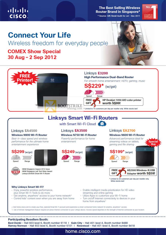 COMEX 2012 price list image brochure of Cisco Linksys E3200 Router, Smart WiFi Routers EA4500, EA3500, EA2700