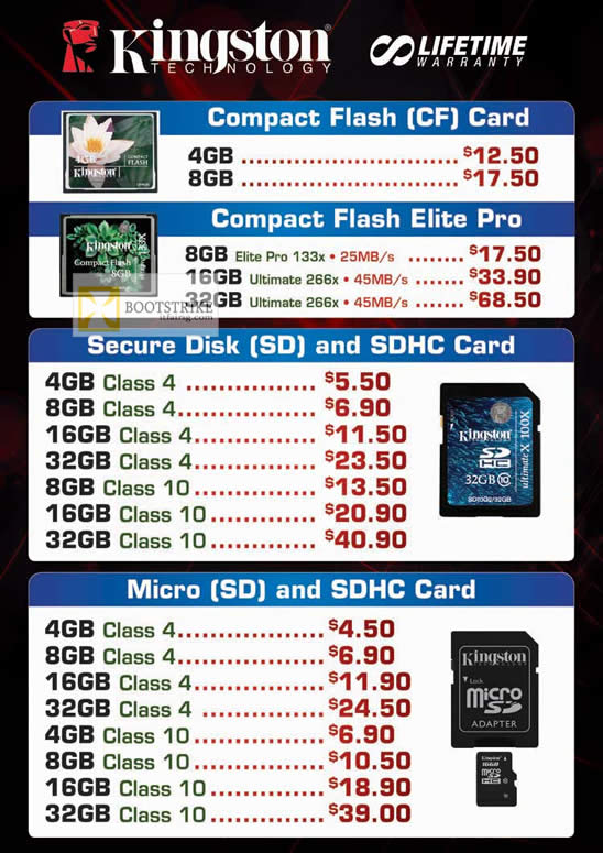 COMEX 2012 price list image brochure of Convergent Kingston Flash Memory Cards CompactFlash CF, Elite Pro, SD, SDHC, MicroSD, SDHC