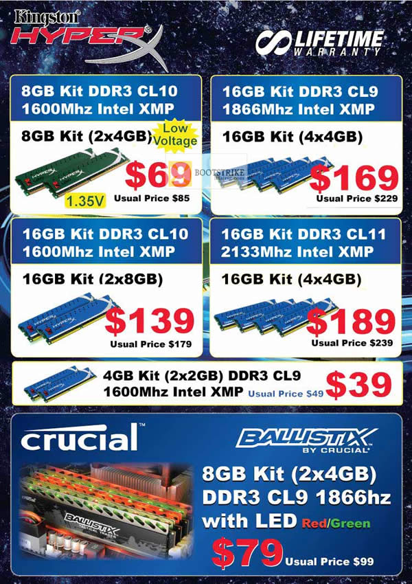 COMEX 2012 price list image brochure of Convergent Kingston Memory RAM DDR3 Intel XMP, Crucial Ballistix