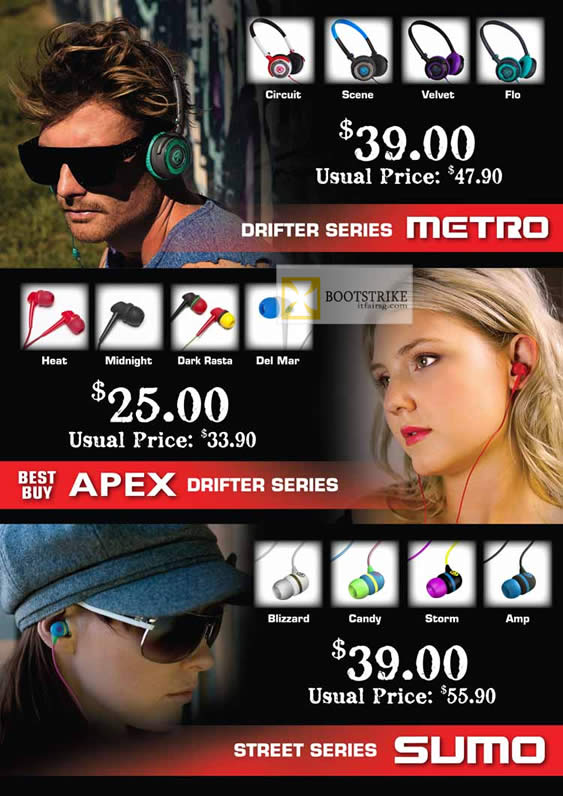 COMEX 2012 price list image brochure of Convergent Metro Headsets, Apex Drifter Series, Street Series Sumo