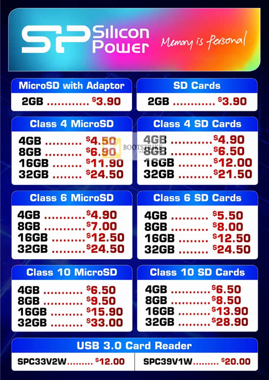 COMEX 2012 price list image brochure of Convergent SP Silicon Power Flash Memory, SD Cards, MicroSD, Card Reader