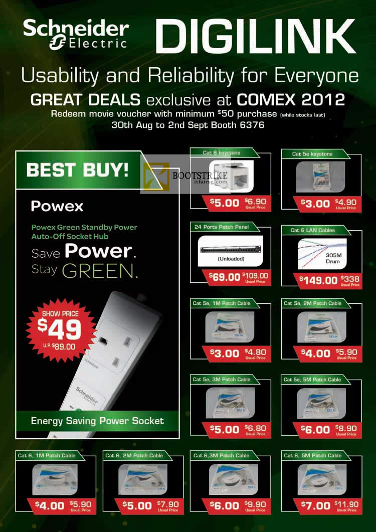 COMEX 2012 price list image brochure of Convergent Schneider Electric Digilink Power Socket, Keystone, LAN Cables