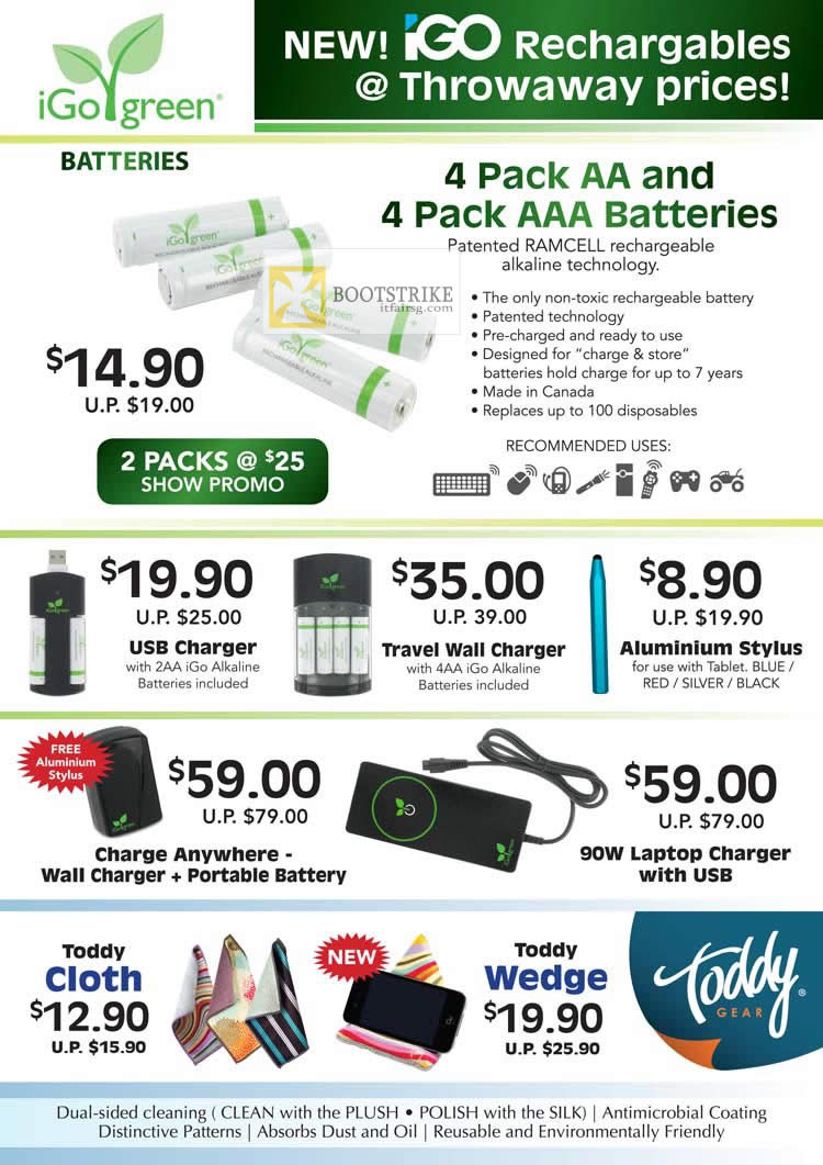 COMEX 2012 price list image brochure of Convergent IGo Green AA AAA Battery Ramcell, Charger, Toddy Cloth, Wedge