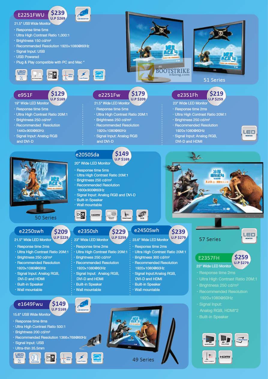 COMEX 2012 price list image brochure of Corbell AOC Monitors E2251FWU, E951F, E2251Fw, E2351Fh, E2050Sda, E2250swh, E2350sh, E2450Swh, E1649Fwu, E2357FH