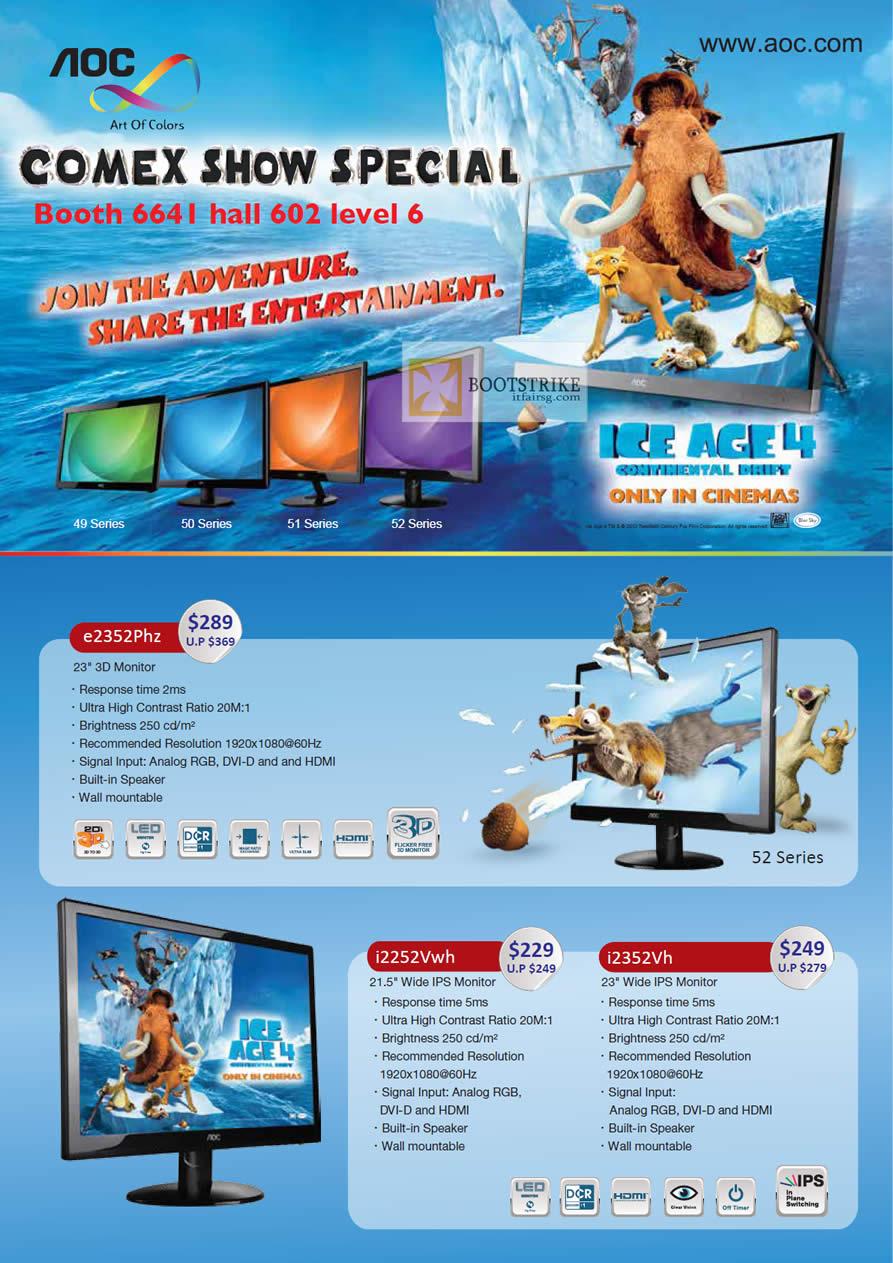 COMEX 2012 price list image brochure of Corbell AOC Monitors E2352Phz, IPS I2252Vwh, I2352Vh