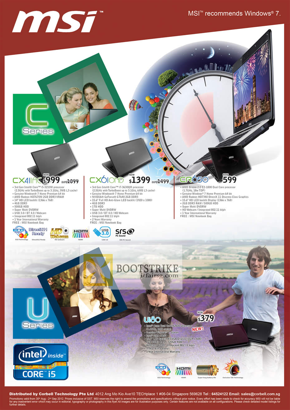 COMEX 2012 price list image brochure of Corbell MSI Notebooks CX411AC, CX6I0ND, CR650, UI80
