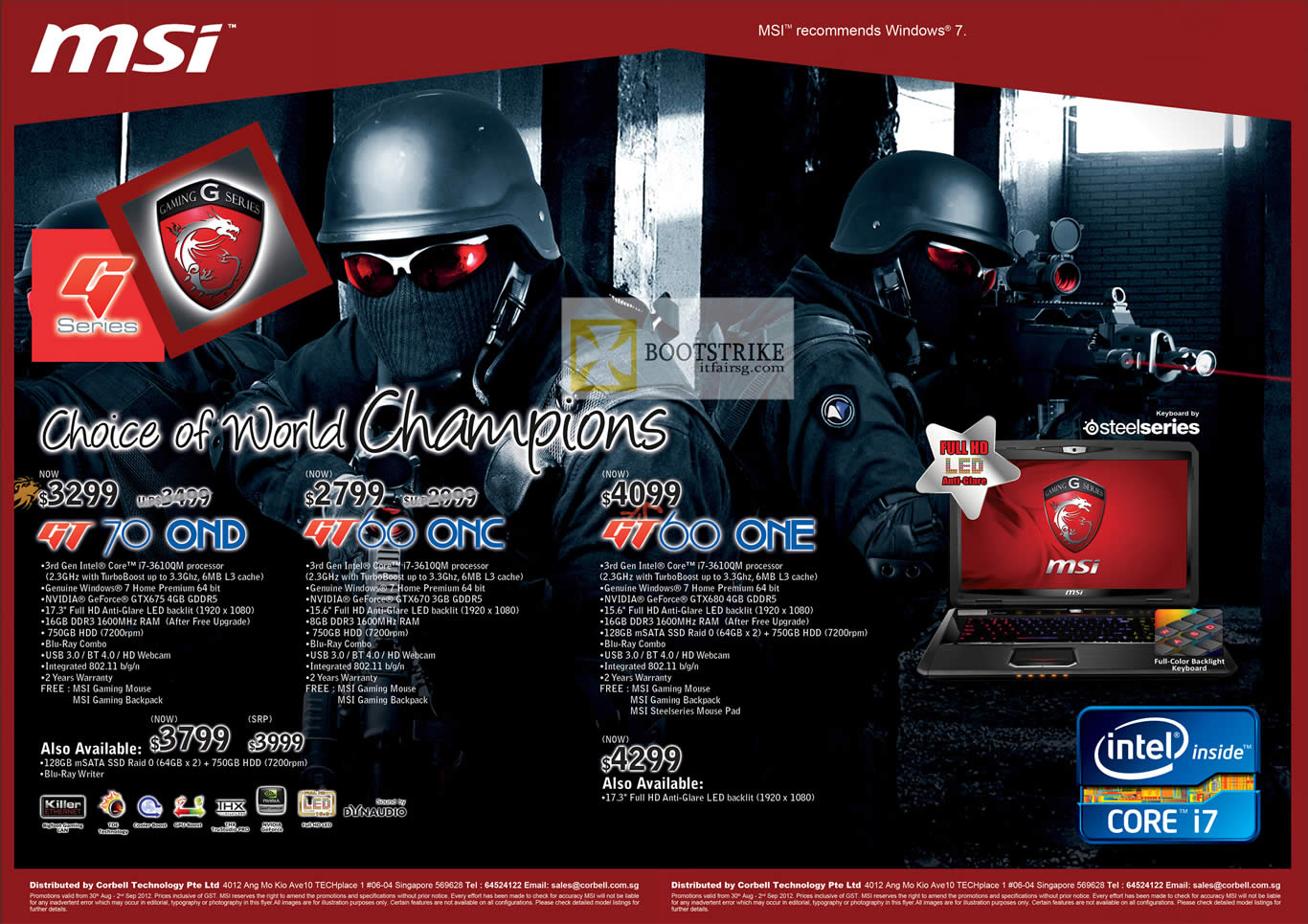 COMEX 2012 price list image brochure of Corbell MSI Notebooks GT70 0ND, GT60 0NC, GT60 0NE