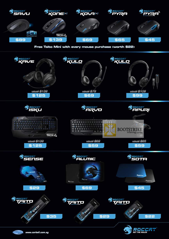 COMEX 2012 price list image brochure of Corbell Roccat Mouse Savu Kone Kova Plus Pyra, Headphone Kave Kulo, Keyboard Isku Arvo Apuri, Sense, Alumic, Sota, Taito