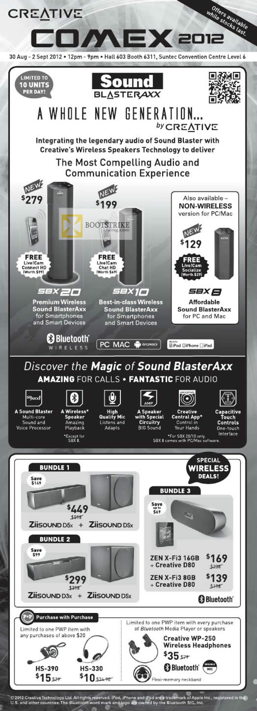COMEX 2012 price list image brochure of Creative Sound Blaster Speakers Axx SBX 20, SBX 10, SBX 8, Wireless Bundles, Purchase With Purchase
