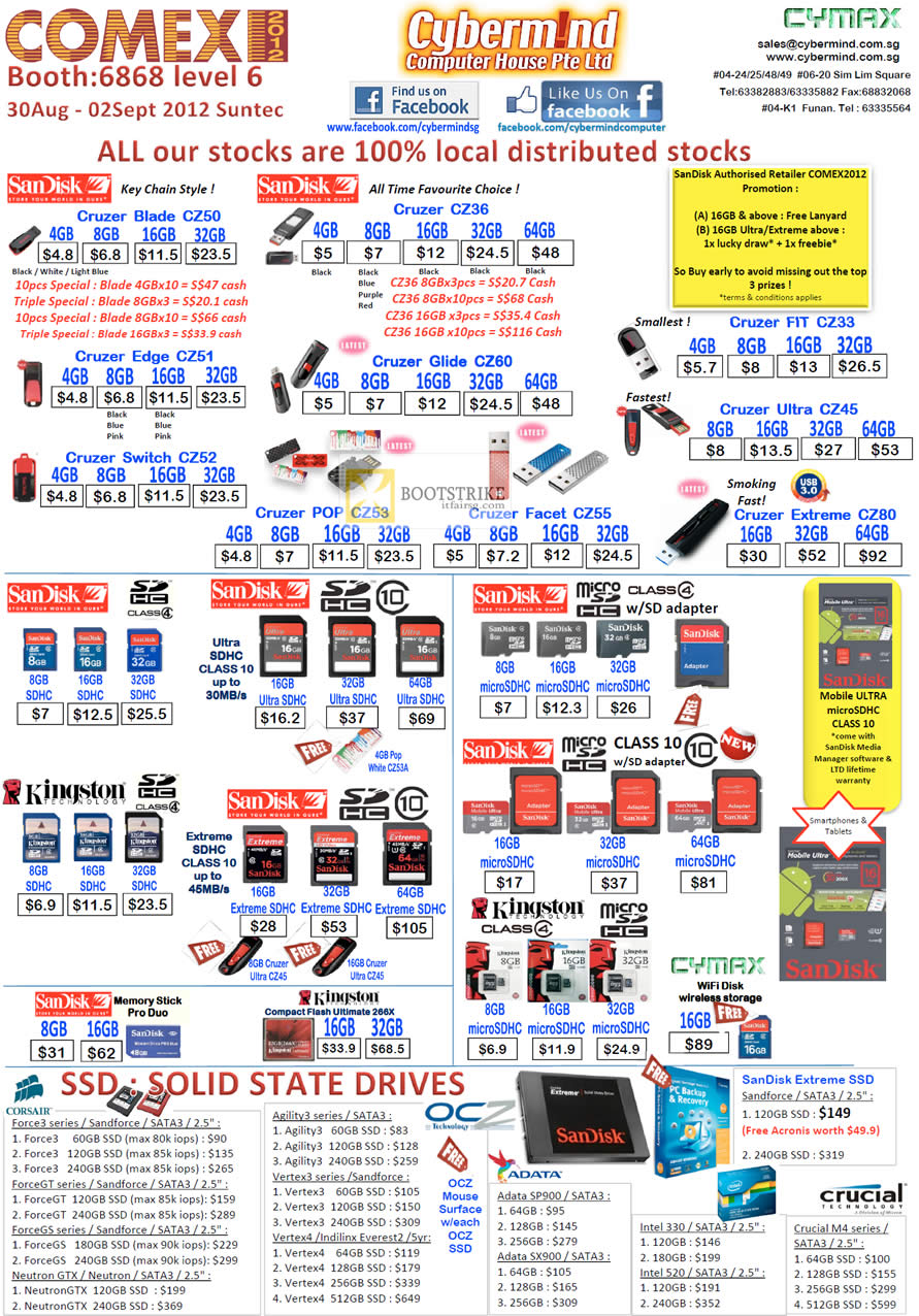 COMEX 2012 price list image brochure of Cybermind Flash Memory USB Sandisk Cruzer Blade CZ36 Fit Edge Switch Glide POP Extreme Ultra, MicroSD SDHC, Kingston Memory Stick Pro Duo, SSD Corsair Adata Crucial