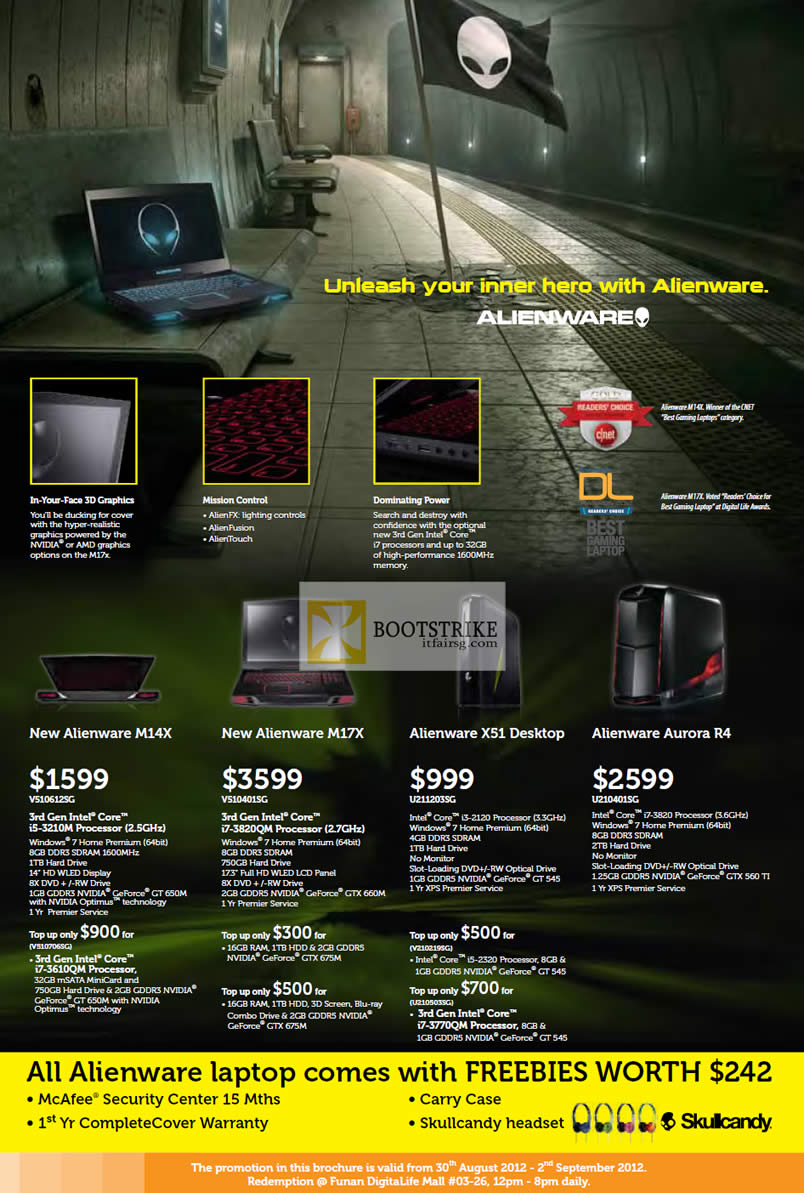 COMEX 2012 price list image brochure of Dell Direct Notebooks Alienware M14X M17X, X51 Desktop PC, Aurora R4 Desktop PC