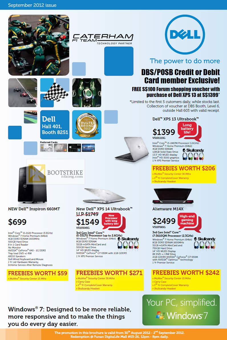 COMEX 2012 price list image brochure of Dell Direct Notebooks XPS 13 Ultrabook, XPS 14, Alienware M14X, Inspiron 660MT Desktop PC