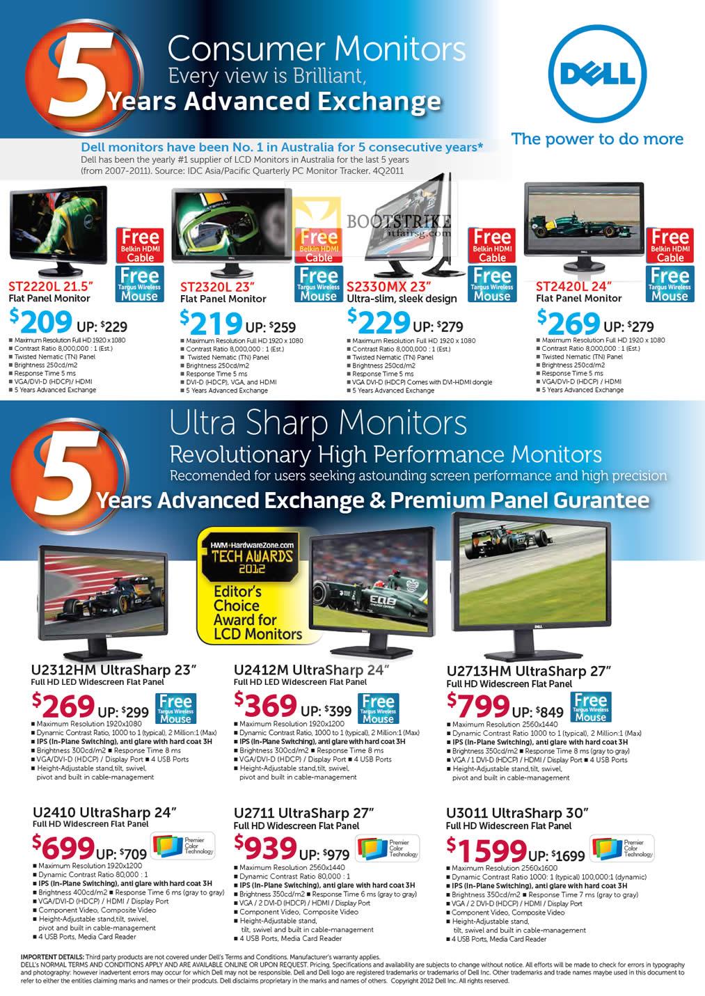 COMEX 2012 price list image brochure of Dell Reseller Monitors ST2220L ST2320L S2330MX ST2420L, UltraSharp U2312HM U2412M U2713HM U2410 U2711 U3011