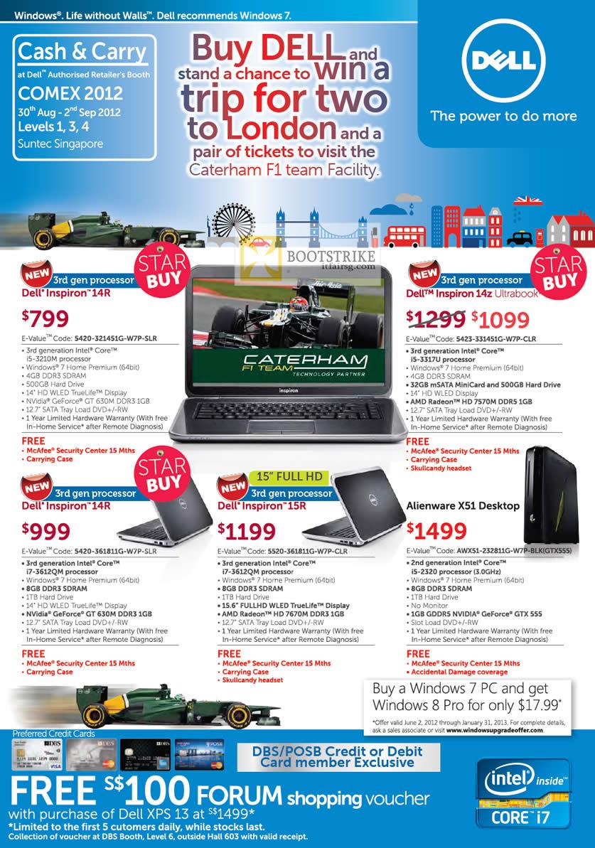 COMEX 2012 price list image brochure of Dell Reseller Notebooks Inspiration 14R, Inspiration 14z Ultrabook, Inspiration 15R, Alienware X51 Desktop PC