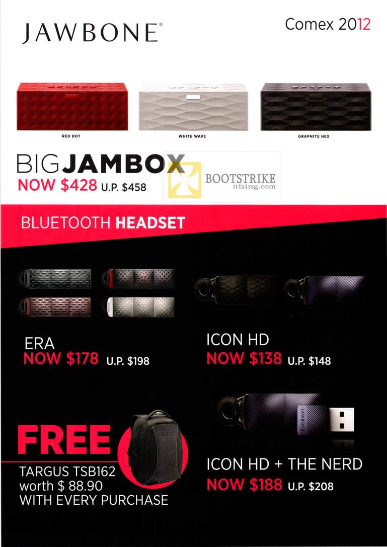 COMEX 2012 price list image brochure of Digital Hub Jawbone Big Jambox, Bluetooth Headset, ERA, Icon HD, The Nerd