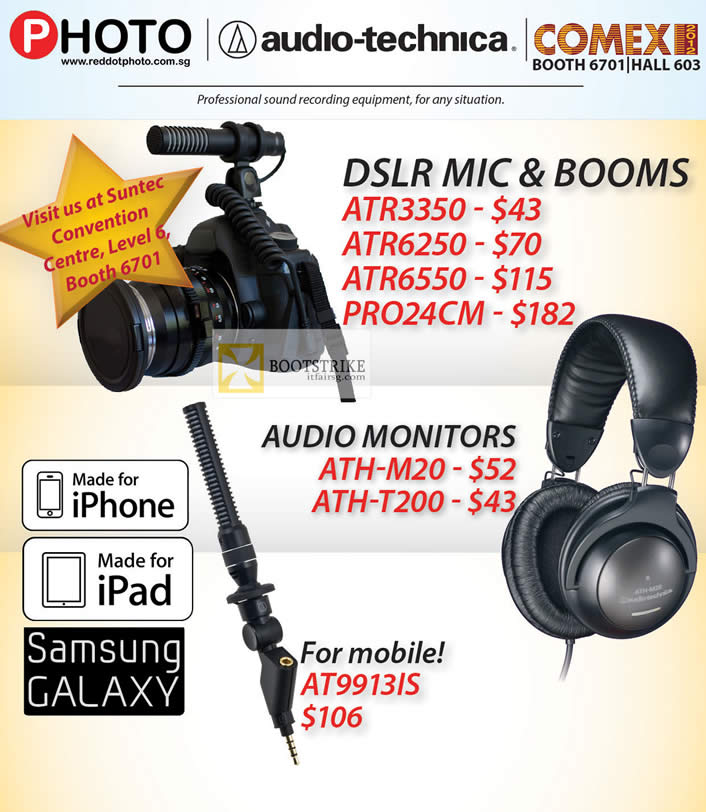 COMEX 2012 price list image brochure of Eastgear Red Dot DSLR Mic Booms ATR3350, ATR6250, ATR6550, PRO24CM, Audio Monitor ATH-M20, ATH-T200, AT9913IS