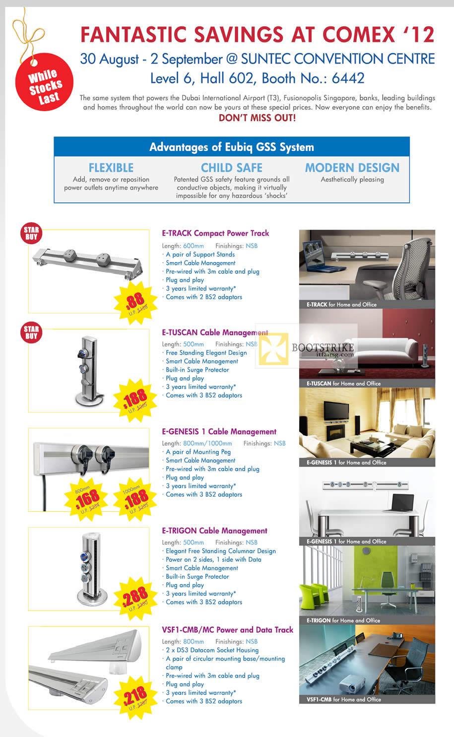 COMEX 2012 price list image brochure of Eubiq GSS Flexible Power Outlet System E-Track, E-Tuscan, E-Trigon, Cable Management, Features