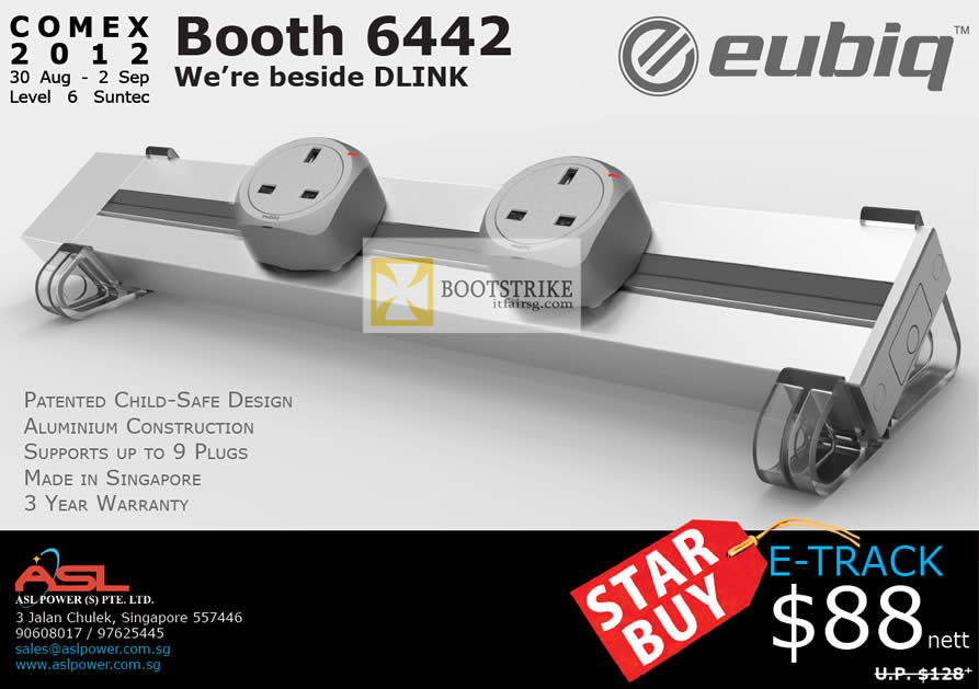 COMEX 2012 price list image brochure of Eubiq GSS Flexible Power Outlet System E-Track, Features