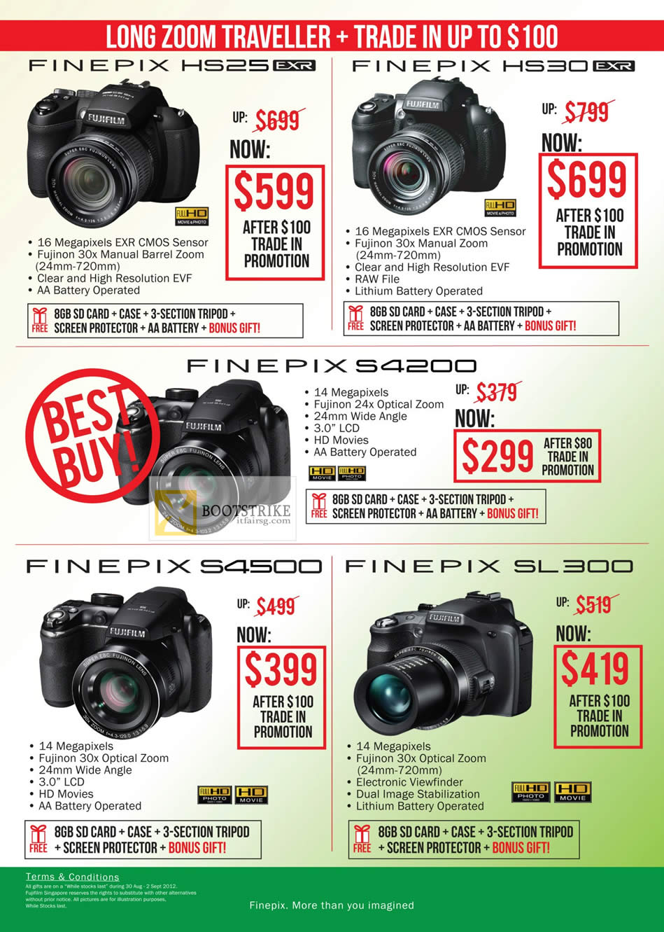 COMEX 2012 price list image brochure of Fujifilm Digital Cameras Finepix HS25, HS30, S4200, S4500, SL300