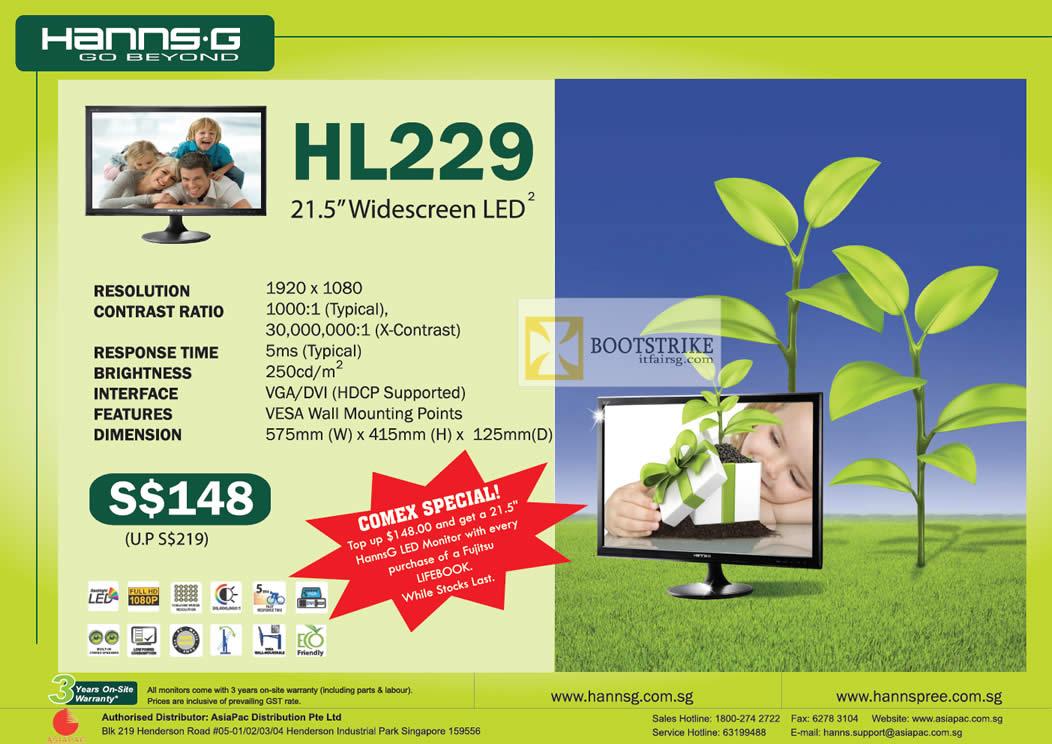 COMEX 2012 price list image brochure of Fujitsu Hanns.G LED Monitor HL229