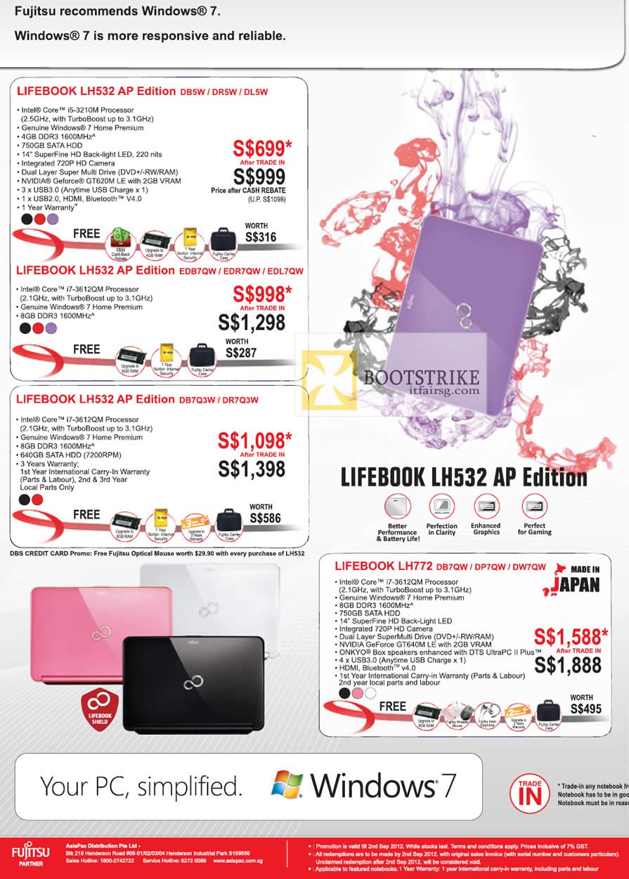 COMEX 2012 price list image brochure of Fujitsu Notebooks Lifebook LH532 AP Edition DB5W DR5W DL5W, EDB7QW EDR7QW EDL7QW, DB7Q3W DR7Q3W, LH772 DB7QW DP7QW DW7QW