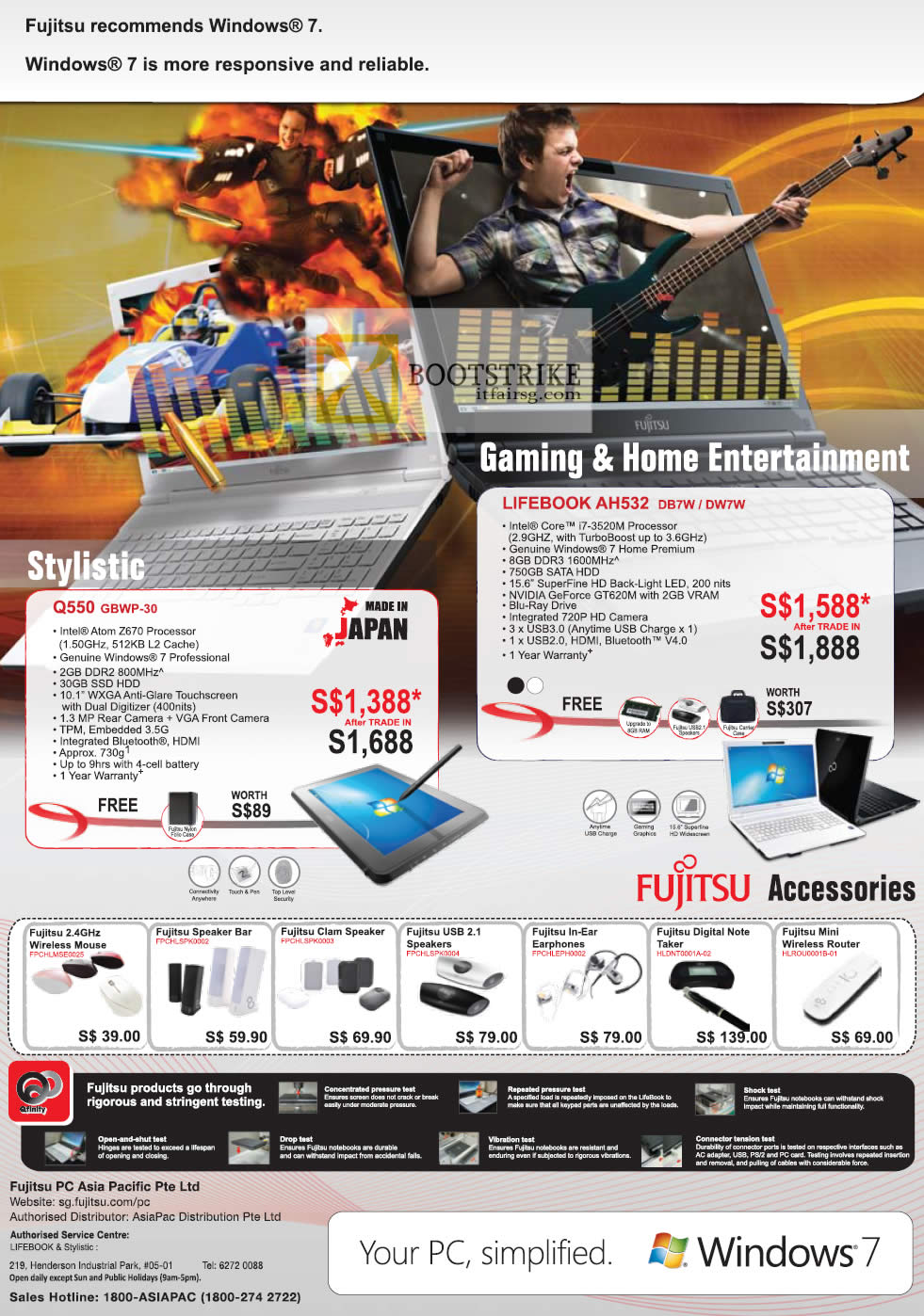 COMEX 2012 price list image brochure of Fujitsu Notebooks Lifebook Q550 GBWP-30, AH532 DB7W DW7W, Accessories Mouse, Speakers, Earphones, Router