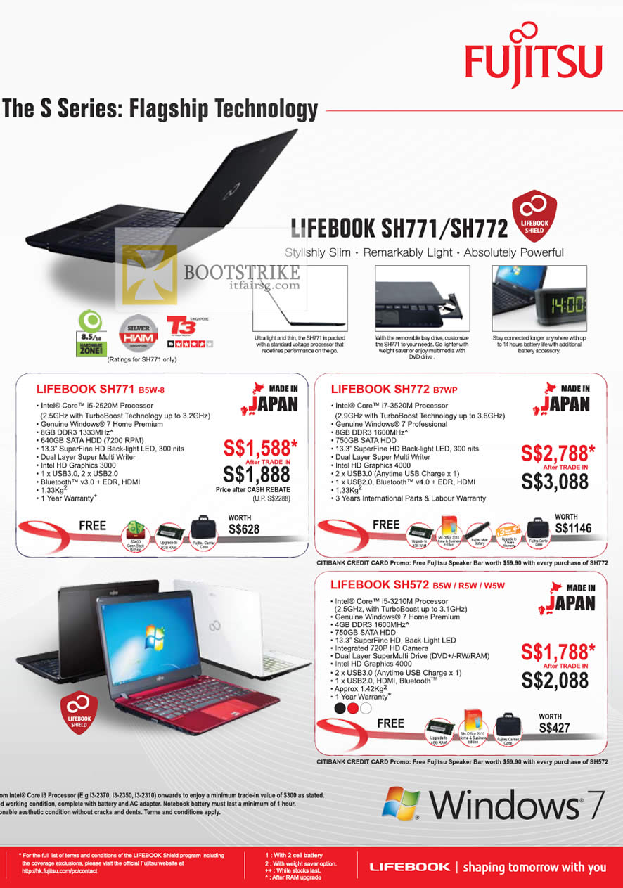 COMEX 2012 price list image brochure of Fujitsu Notebooks Lifebook SH771 B5W-8, SH772 B7WP, SH572 B5W R5W W5W