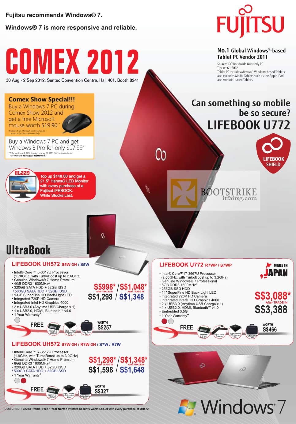 COMEX 2012 price list image brochure of Fujitsu Notebooks Lifebook UH572 S5W-3H S5W, U772 R7WP S7WP, UH572 S7W-3H R7W-3H S7W R7W