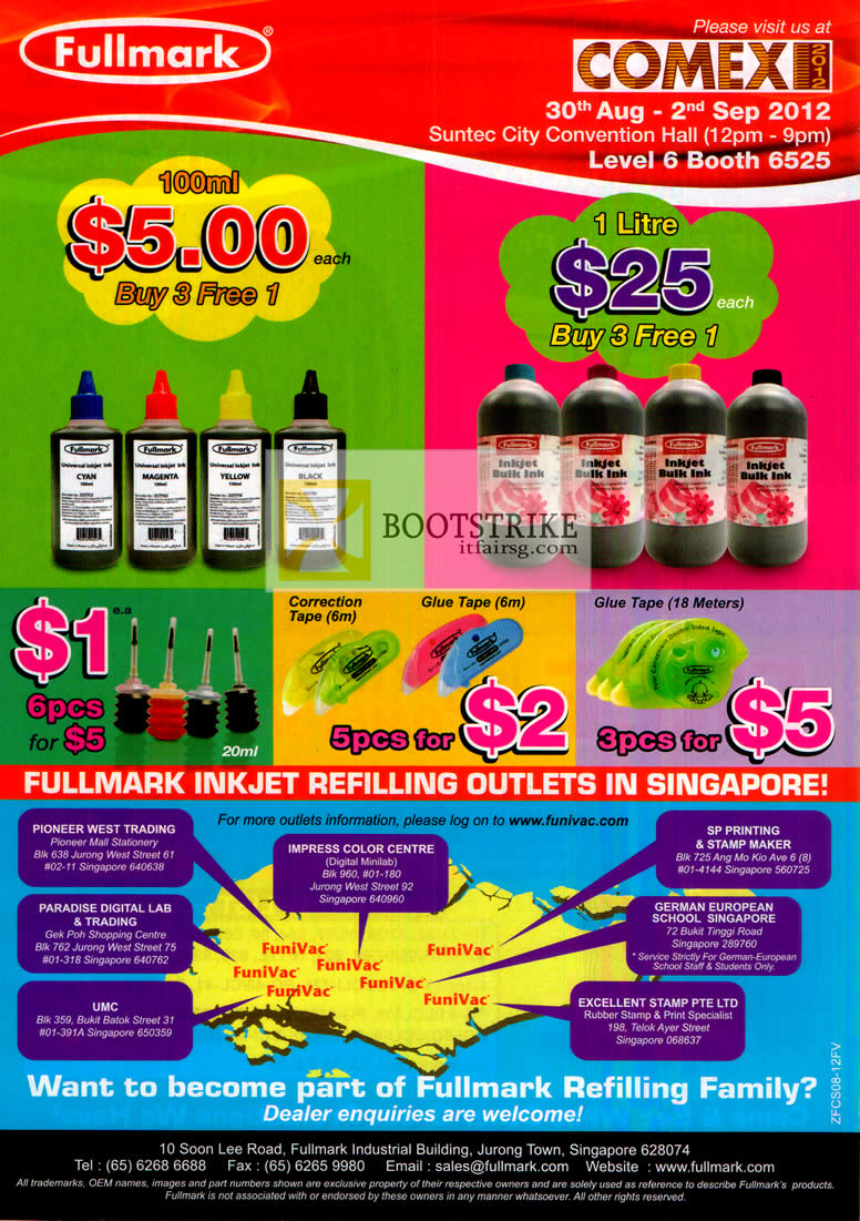 COMEX 2012 price list image brochure of Fullmark Ink Cartridge Refill Bottles, Correction Tape, Glue Tape, Inkjet Refilling