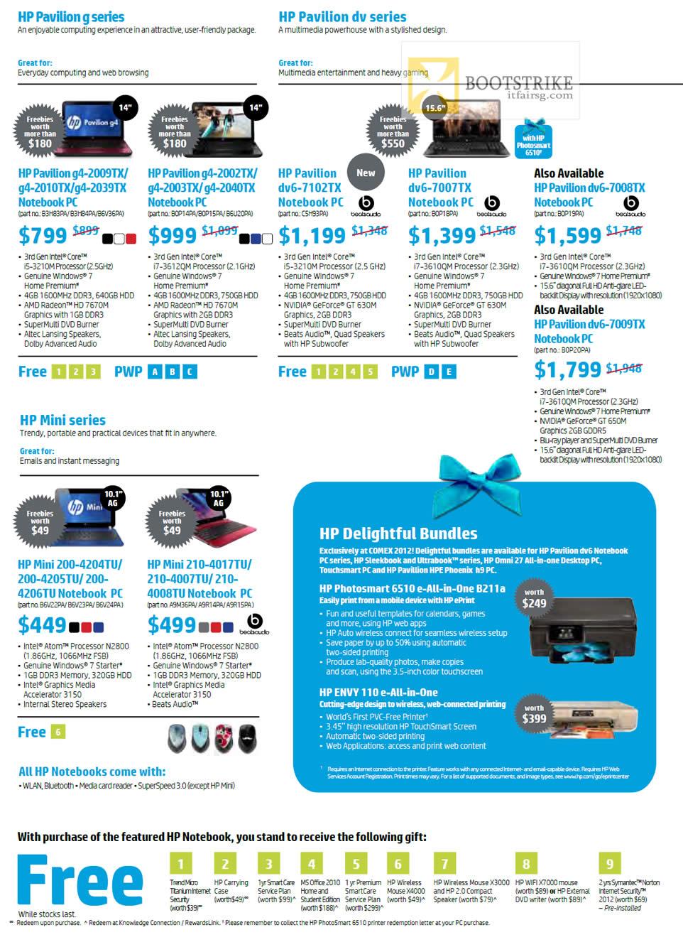 COMEX 2012 price list image brochure of HP Notebooks Pavilion G4 2009TX 2010TX 2039TX 2002TX 2003TX 2040TX, Dv6 7102TX 7007TX 7008TX 7009TX, Mini 200-4204TU 4205TU 4206TU, 210 4017TU 4007TU 4008TU