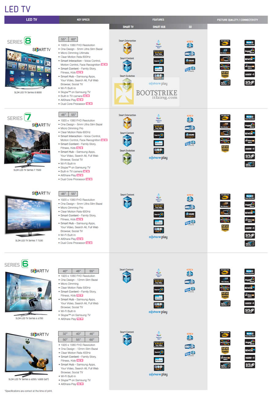 COMEX 2012 price list image brochure of Harvey Norman Samsung LED TV Series 8, 7, 6
