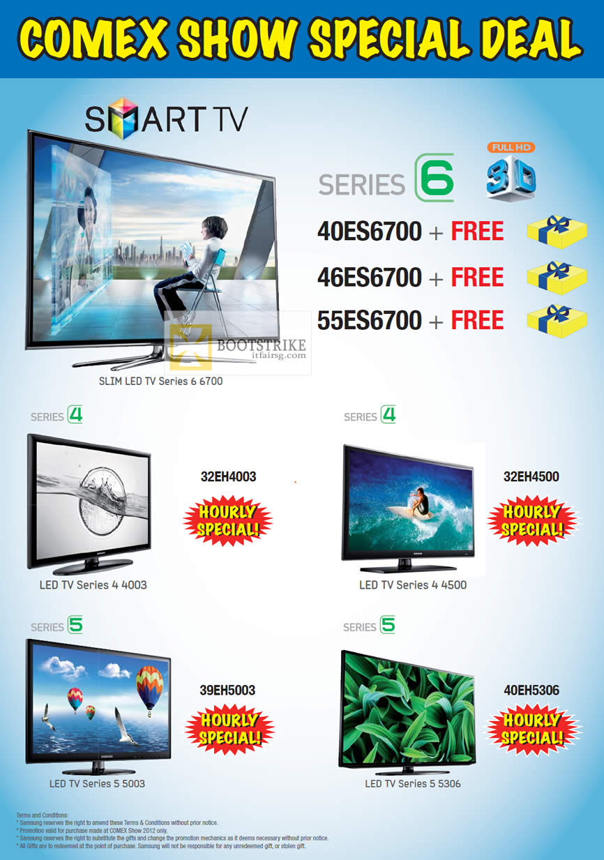 COMEX 2012 price list image brochure of Harvey Norman Samsung Smart TV Series 6 40ES6700, 46ES6700, 55ES6700, 32EH4003, 32EH4500, 39EH5003, 40EH5306