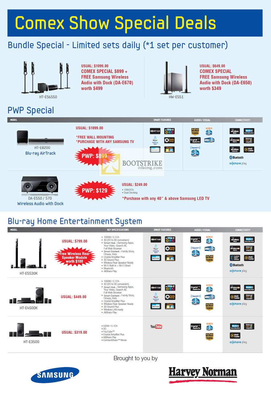 COMEX 2012 price list image brochure of Harvey Norman Samsung Wireless Audio HT-ES6550, HW-E551, Blu-ray Aair Track HT-E8200, Home Entertainment System, HT-E5530K, HT-E4500K, HT-E3500