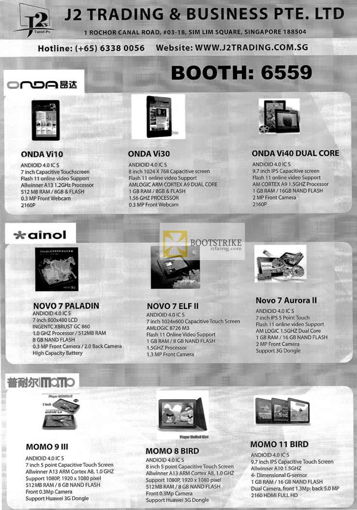 COMEX 2012 price list image brochure of J2 Onda Vi10, Vi30, Vi40 Dual Core, Ainol Novo 7 Paladin, Novo 7 ELF II, Aurora II, Momo 9 III, 8 Bird, 11 Bird