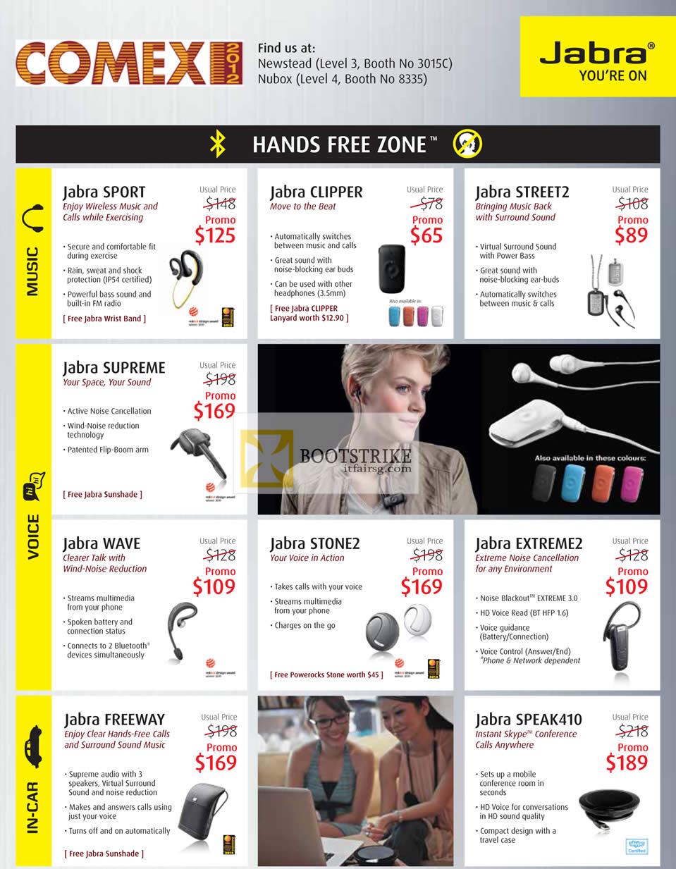 COMEX 2012 price list image brochure of Jabra Bluetooth Headsets Sport, Clipper, Street2, Supreme, Wave, Stone2, Extreme2, Freeway, Speak410