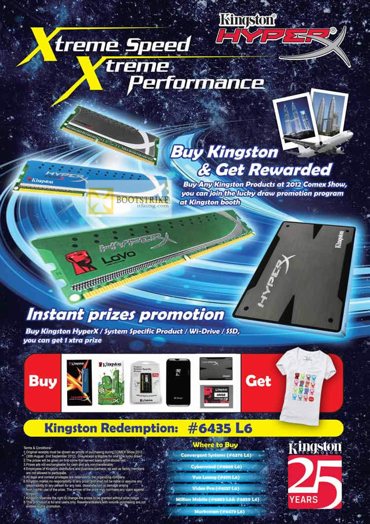 COMEX 2012 price list image brochure of Kingston Lucky Draw Promotion HyperX, SSD, Wi Drive